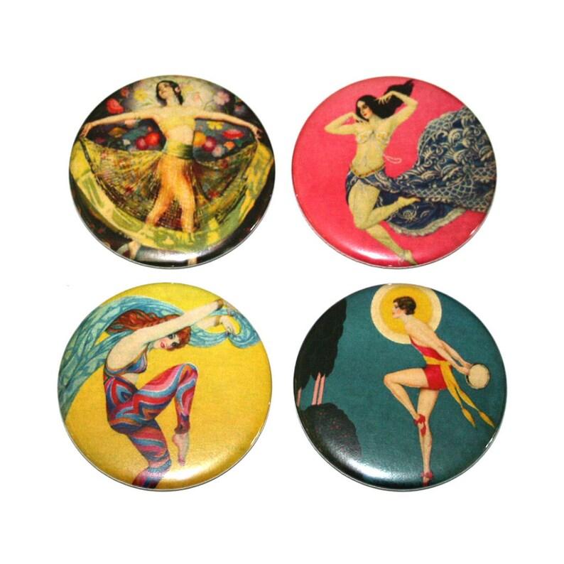 Art Deco Dancers  Set of 4 Large Fridge Magnets image 0