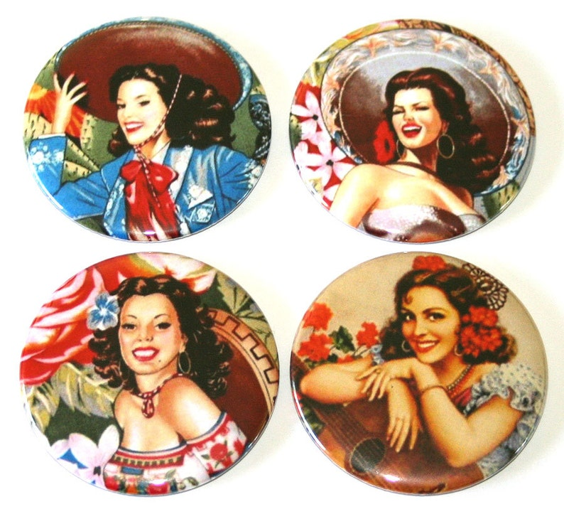 Mexican Pin Up Girls  Set of 4 Large Fridge Magnets image 0