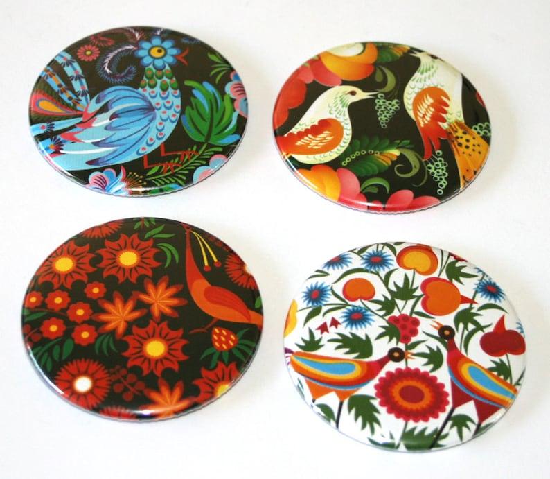 Russian Folk Bird Designs  Set of 4 Large Fridge Magnets image 0