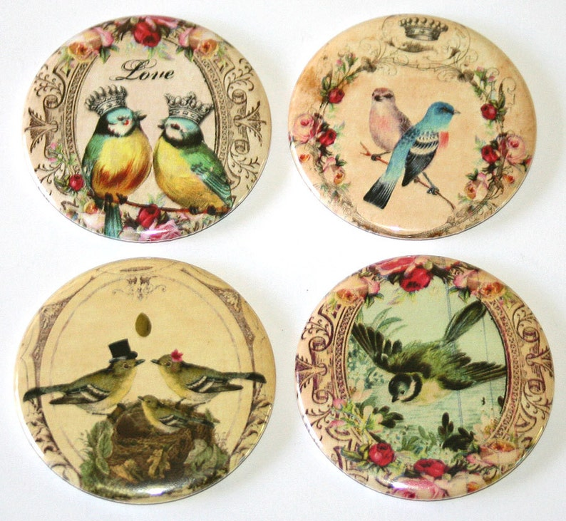 Whimsical Love Birds  Set of 4 Large Fridge Magnets image 0