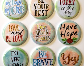 Think Positive Fridge Magnets Set 9pc 55mm Motivational Sayings Affirmations
