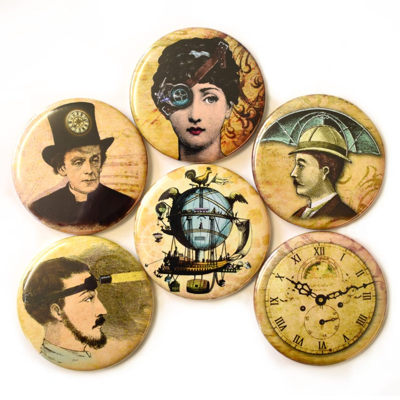 Steampunk Fridge Magnets Set 6pc 55mm Steam Punk Round Magnet image 0