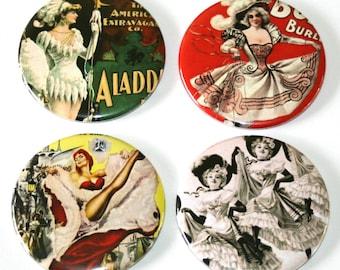 Vintage Burlesque - Large Fridge Magnets - Set of 4