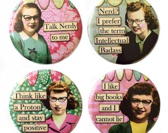 Retro Nerd Girls Fridge Magnets Set 4pc 55mm Funny Novelty Round Magnet Geek