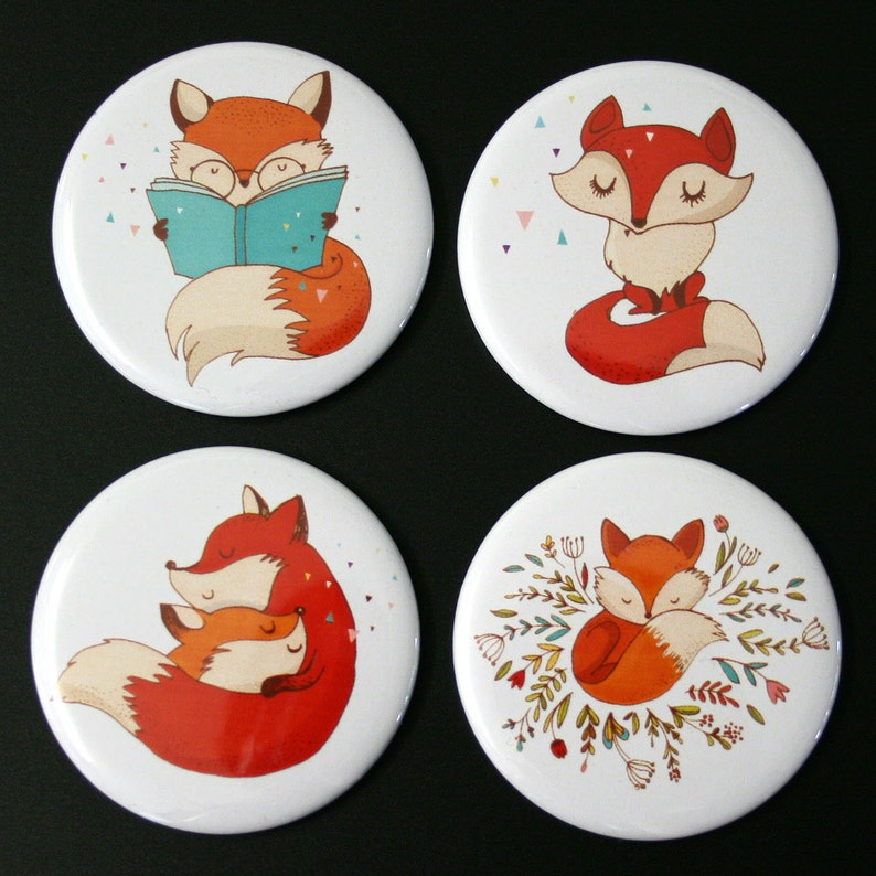 Cute Foxes Fridge Magnet Set of 4 fox woodland gift image 0