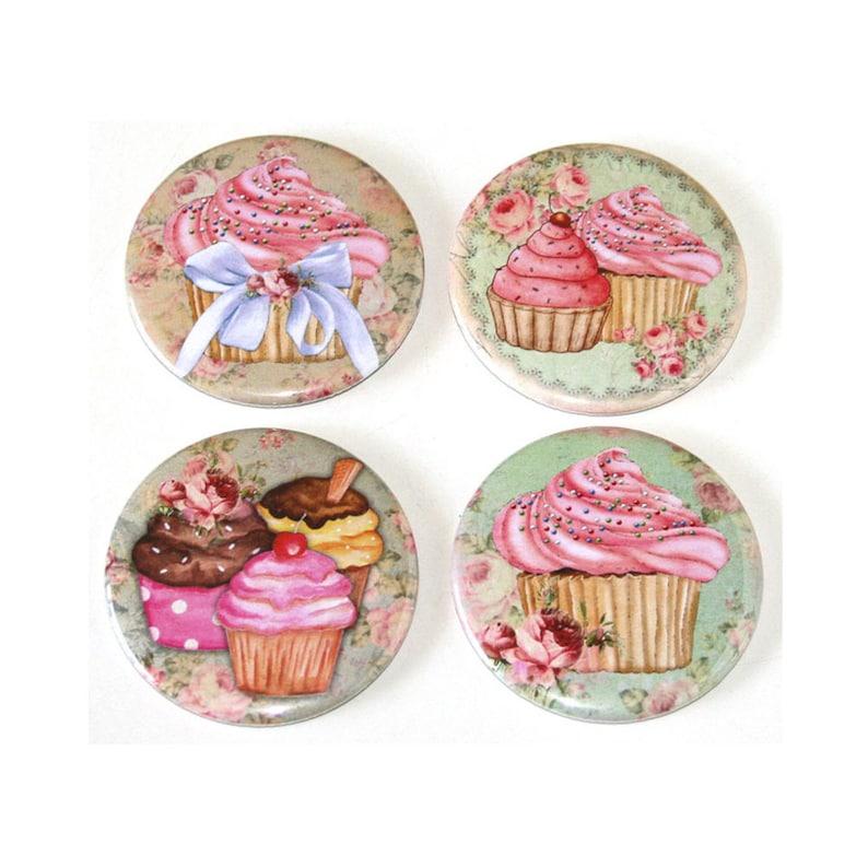 Pink Cupcakes  Set of 4 Large Fridge Magnets image 0