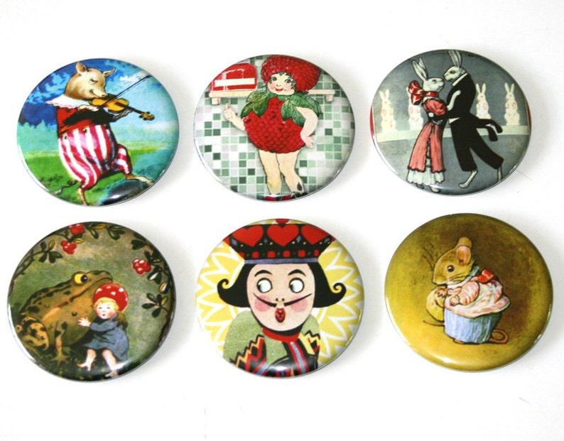 Whimsy Fairytale Illustrations  Set of 6 Large Fridge Magnets image 0