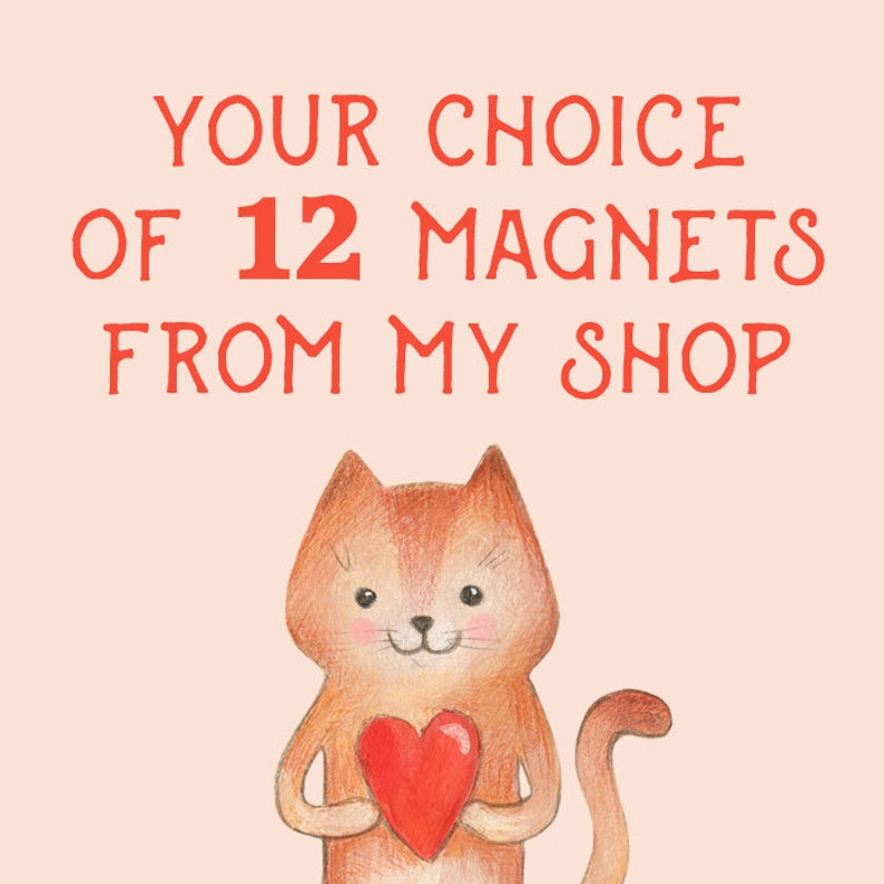 Your Choice of 12 Fridge Magnets from our Etsy Store image 0