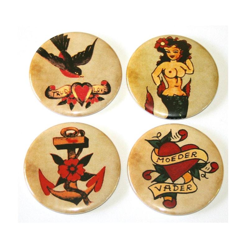 Retro Dutch Tattoo Designs  Set of 4 Large Fridge Magnets image 0