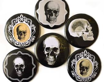 Gothic Skulls Fridge Magnets Set 6pc 55mm Goth Skeleton Round Magnet