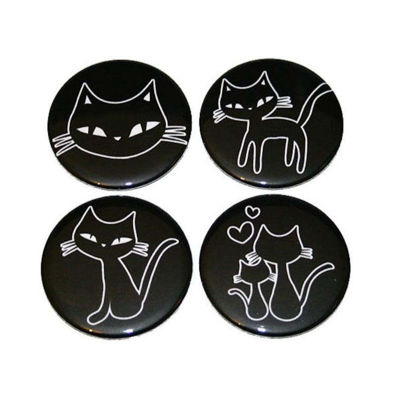Cute Kitty Cats  Set of 4 Large Fridge Magnets image 0