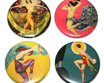 Art Deco Dancers - Set of 4 Large Fridge Magnets