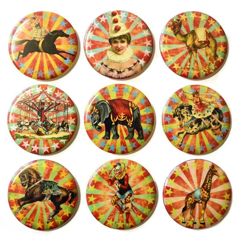 Retro Circus Fridge Magnets Set x9 55mm Animals Carnival image 0