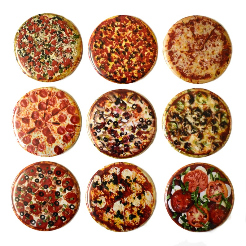 PIZZA Fridge Magnets Set x9 55mm Novelty Round Food Kitchen image 0