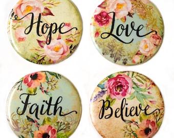 Love Hope Believe Faith - Fridge Magnets Set x4 55mm Motivational Inspirational