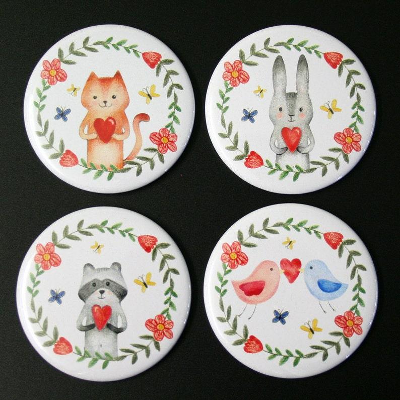Love Animals Fridge Magnet Set of 4 cute illustration gift image 0