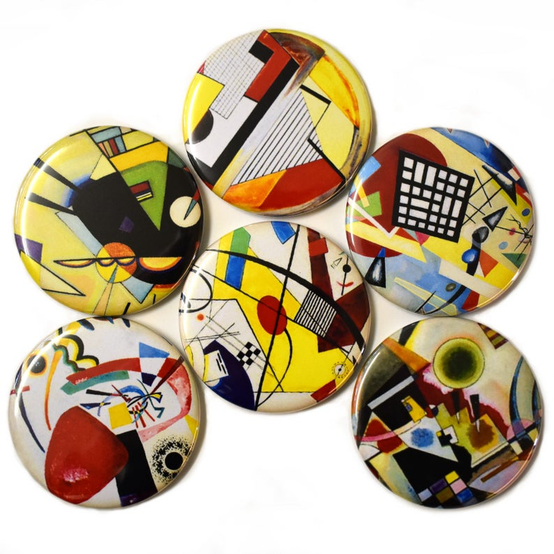 Bauhaus Fridge Magnets Set x6 55mm German Art Painting image 0