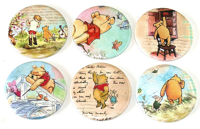 Winnie the Pooh  Set of 6 Large Fridge Magnets image 0