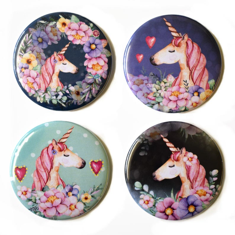 Unicorn Fridge Magnets Set 1 x 4 55mm Floral Magical Unicorns image 0