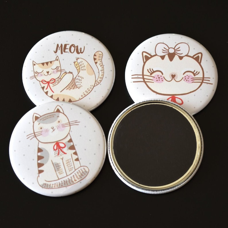 Cute Kitty Cats Fridge Magnet Set of 4 Kawaii Cat Lady Gift image 0