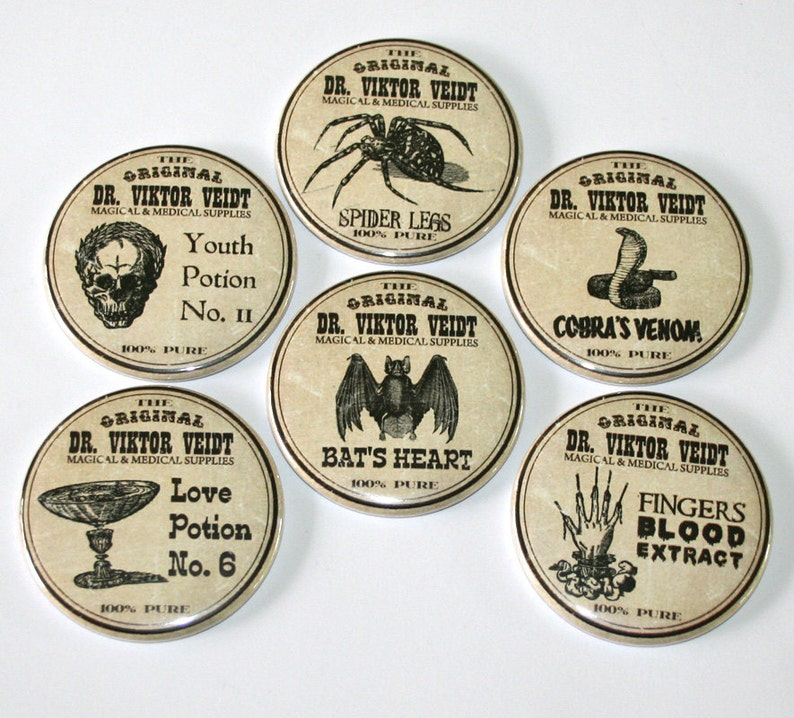 Spooky Potion Labels  Large Fridge Magnets  Set of 6 image 0