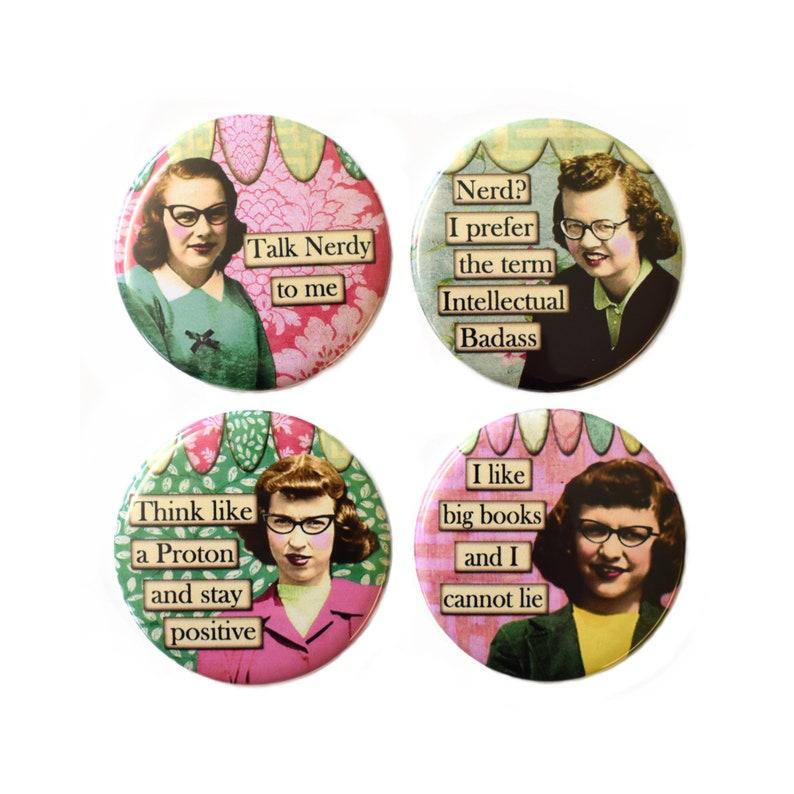 Retro Nerd Girls Fridge Magnets Set 4pc 55mm Funny Novelty image 0