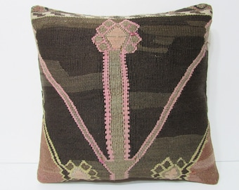 "Turkish cushion 18"" sofa throw pillow kilim pillow cover decorative pillow case couch outdoor floor bohemian boho ethnic rustic accent 21807"