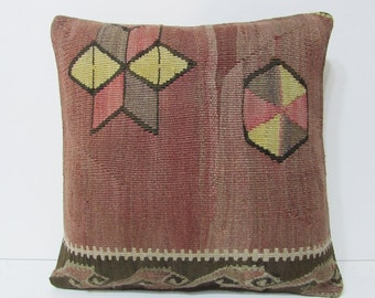 "Turkish cushion 18"" sofa throw pillow kilim pillow cover decorative pillow case couch outdoor floor bohemian boho ethnic rustic accent 21805"