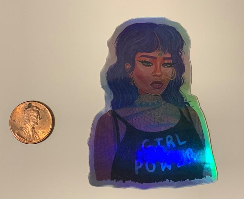 Girl Power Desi Girl holographic sticker