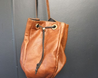 Gorgeous Brown Leather Bucket Shoulder Bag Genuine Leather Handbag SALE