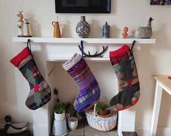 Traditional Scottish tweed Christmas Stocking