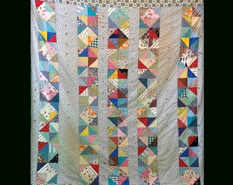 1950s Handmade Cotton Patchwork Crazy Quilt Bedspread