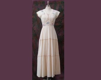1960s Maxi Dress Embroidered Gauze Muslin