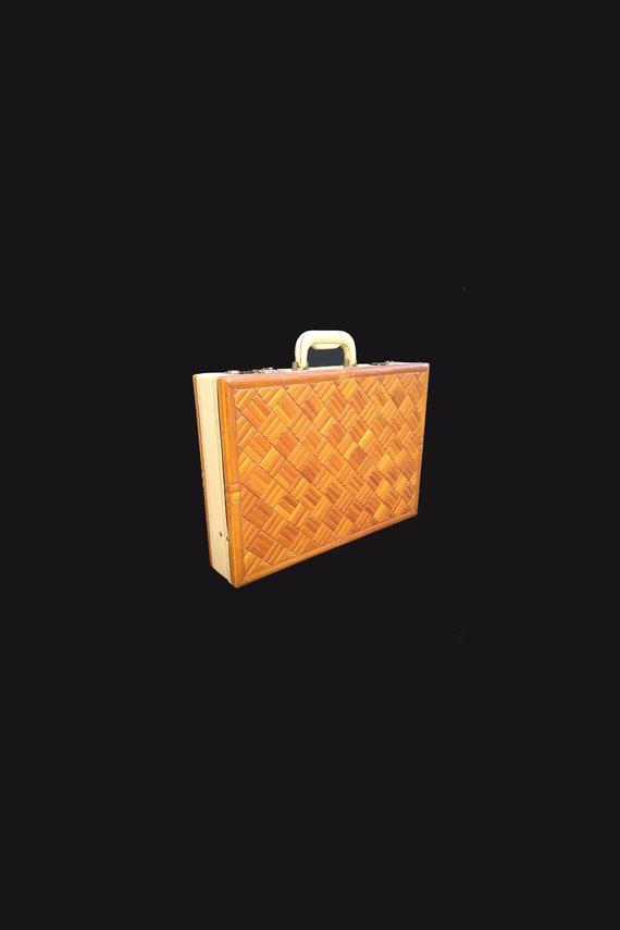 1970s Bamboo Briefcase Attache Case
