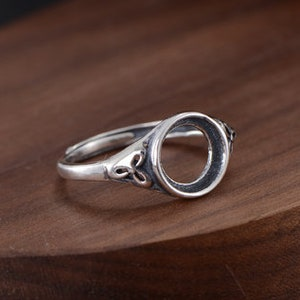 The high quality 925 Ring Blank Adjustable Thai Sterling Silver Ring Base Antique Style Cabochon Ring Setting  WJ0314KT
