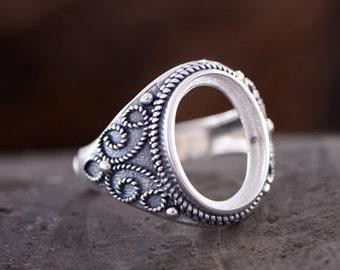 Adjustable Thai Sterling Silver Ring Base Oval Cabochon Ring Setting R882B Blank 12x16mm 10x13.8mm//12x16mm Teardrop Blank Ring Blank