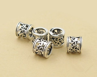 5.5mm*37mm 925 Thai Silver Spacers  Pendants T094T 2pcs Thai Sterling Silver Openwork Plus Long Curved Tube Beads  Connectors