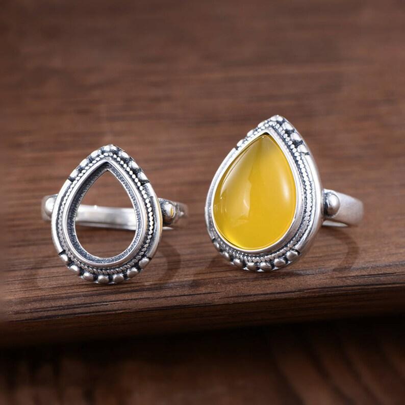 Adjustable Thai Sterling Silver Ring Base Oval Cabochon Ring Setting R882B Ring Blank 10x13.8mm12x16mm Teardrop Blank