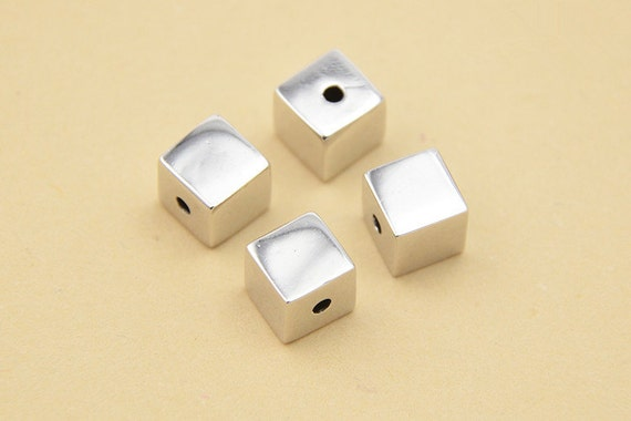 2.5mm 925 Sterling Silver Cube Beads 6mm 7.5mm 4mm Rectangular Cube beads