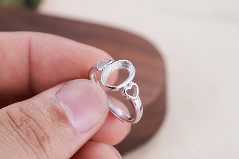 Adjustable Sterling Silver Ring Base Long-Lasting White Gold Plated 925 Silver Ring Setting R957B Ring Blank 6x9mm Oval Blank