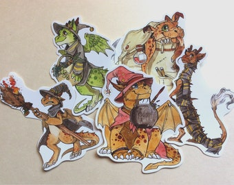 5 x Witchy Dragon Stickers - dragon puppies - vinyl stickers - 10cm - cute, witch, magic, stationery