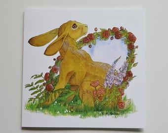 Summer - Charming Hare greetings card - BLANK interior -  birthday/invites/weddings