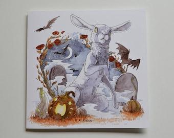 Halloween - White Hare greetings card - BLANK interior -  birthday/invites/weddings