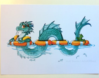 Baby Steps - Dragon / Sea Serpent Art Print - From Original Watercolour - A4 - 300gsm Cardstock