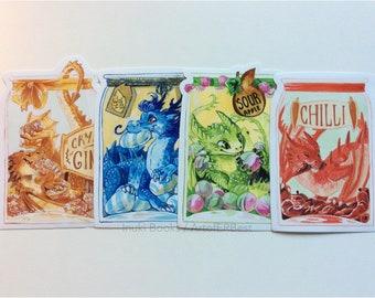 4 x Snacky Dragon Stickers - dragon snacks - vinyl stickers - 10cm - cute, food, pantry, stationery