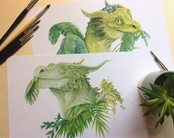 Eat Your Greens - 2 x Dragon Art Print - From Original Watercolour - A4 - 300gsm Recycled Cardstock