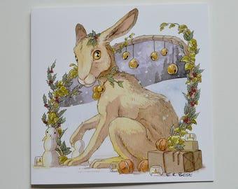 Christmas - Merry Hare greetings card - BLANK interior -  birthday/invites/weddings