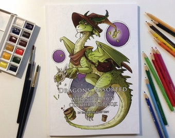 Dragons, Assorted - A Hand Drawn colouring book - 31 dragons, 72 pages, 2 x Test Pages - 150gsm natural paper - A4 portrait format