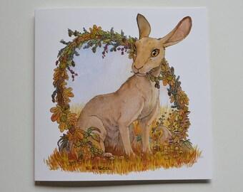 Autumn / Fall - Charming Hare greetings card - BLANK interior -  birthday/invites/weddings