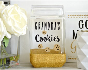 Grandma Cookie Jar, Custom Cookie Jar, Glass Cookie Jar, Personalized Cookie Jar, Wedding Cookie Jar, Glitter Cookie Jar, Cookie Jar